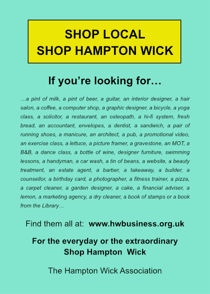 Hampton Wick's Shop Local poster